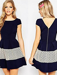 MAKE  Women's Patchwork Blue Dresses , Sexy / Bodycon / Party Round Short Sleeve
