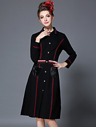 AOFULI Winter Women Vintage Fashion Elegant Plus Size Stripe Patchwork Fur Pocket Button Slim Dress