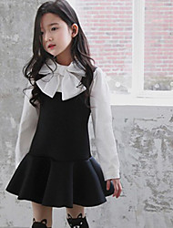 Girl's Spring / Fall Cotton Sequin Long Sleeveed Assorted  Bow-Tie  Dress