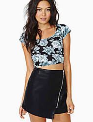 Women's Solid Black Skirts , Casual / Day Mini