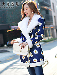 Women's Floral Blue Coat , Print / Work Long Sleeve Polyester / Spandex