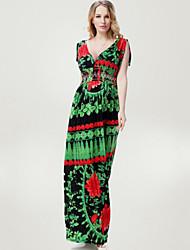 Women's Beach Plus Size / Swing Dress,Print Deep V Maxi Sleeveless Green Polyester Spring