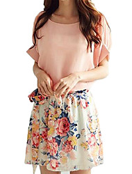 Women's White/Pink Round Flower Print Chiffon Short Sleeve Dress