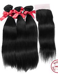Trame cheveux avec fermeture Cheveux Brésiliens Droit 12 mois tissages de cheveux