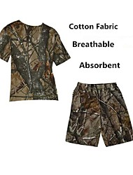 Men Outdoor Camouflage Breathable Tshirt Outdoor Camo Hunting Fishing Camo Summer Suits(Tshirt+Short Pant)