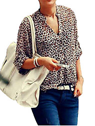 Women's Leopard Stand Collar Chiffon Flanging Long Sleeve Chiffon Blouse Shirt Plus Size