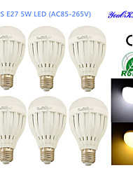 Ampoules Globe LED Décorative Blanc Chaud / Blanc Froid YouOKLight 6 pièces B E26/E27 5W 10 SMD 5730 400 LMAC 100-240 / AC 110-130 / AC