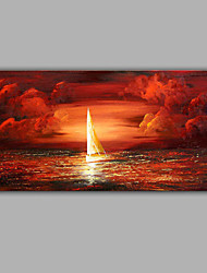 Boat on Sea Sunrise Oil Painting Design Landscape Subject