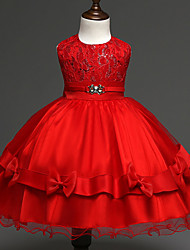 Girl's Gold / Red Dress , Lace Polyester Spring / Fall