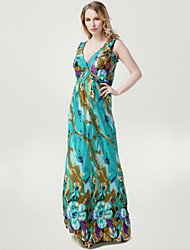 Women's Beach Plus Size / Swing Dress,Floral Deep V Maxi Sleeveless Green Polyester Spring