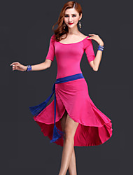 Belly Dance Dresses Women's Performance Rayon Draped 3 Pieces Black / Fuchsia / Red / Royal Blue Belly Dance Dress / Belt / Shorts