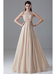 Formal Evening Dress Ball Gown Jewel Floor-length Chiffon / Lace with Beading / Lace