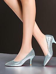 Mujer-Tacón Stiletto-TaconesBoda / Oficina y Trabajo / Vestido-Semicuero-Azul / Plata / Oro