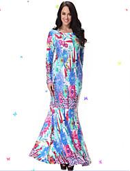 Women's Casual / Day / Boho / Beach Patchwork Trumpet/Mermaid Dress , Round Neck Maxi Spandex