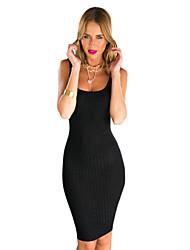 Women's Club Bodycon Dress,Solid Deep U Knee-length Sleeveless Black / Gray Cotton Summer