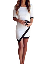 Women's Round Neck Asymmetrical Mini Dress