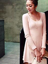 Vestidos ( Algodón Compuesto )- Casual Tiro Medio Manga Larga para Mujer