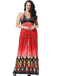Women's Boho / Beach Floral Plus Size / Trumpet/Mermaid Dress , Halter Maxi Spandex