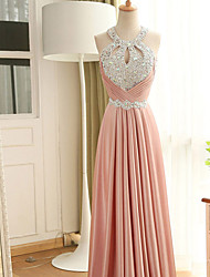Formal Evening Dress Sheath / Column Halter Floor-length Stretch Satin with Beading / Crystal Detailing / Sequins