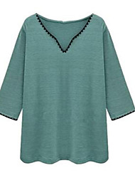 Women's Solid White / Green / Yellow Blouse , V Neck Long Sleeve