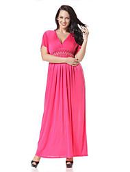 Women's Boho / Beach Solid Plus Size / Trumpet/Mermaid Dress , Deep V Maxi Spandex
