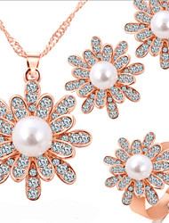 Lucky Doll Women's All Matching Rose Gold Plated Man Made Pearl Zirconia Necklace & Earrings & Ring Jewelry Sets