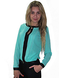 Women's Round Neck Blouse , Nylon Long Sleeve