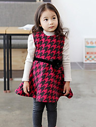 Girl's Red Dress,Check Cotton Spring / Fall