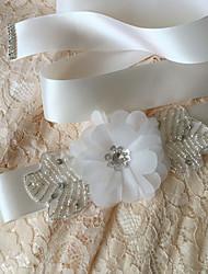 Satin Wedding / Party/ Evening / Dailywear Sash-Beading / Floral / Rhinestone Women's 98 ½in(250cm) Beading / Floral / Rhinestone
