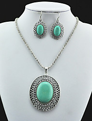 Vintage Antique Silver Plated Round Turquoise Stone Necklace Earring Jewelry Set(1Set)