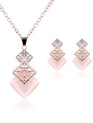 Collier / Boucles d'Oreille (Rose Plaqué Or / Alliage / Pierre Précieuse & Cristal / Zircon Cubique) Mignon / Soirée pour Femme