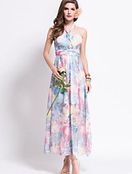 Women's Sexy Beach Halter Sleeveless Print Bohemia Maxi Dress ,