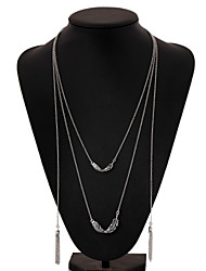 Women's Pendant Necklaces Chain Necklaces Vintage Necklaces Silver Plated Alloy Feather Simple Style Fashion Jewelry Party Daily Casual