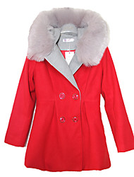 Women's Solid Pink / Red / Green Coat , Casual Long Sleeve Polyester