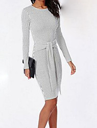Women's Casual/Daily Sexy Bodycon Dress,Solid Round Neck Knee-length Long Sleeve White Cotton Fall