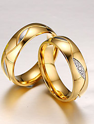 Band Rings Steel Simulated Diamond Fashion Screen Color Champagne Jewelry Party 1pc