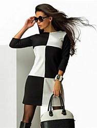 Women's Check Black Dress , Sexy Round Neck Long Sleeve