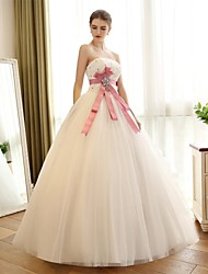 A-line Wedding Dress Floor-length Strapless Satin / Tulle with Bow / Flower