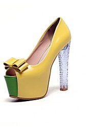 Women's Shoes Leatherette Chunky Heel Heels / Peep Toe / Platform Sandals Party & Evening / Dress Yellow / White