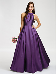 Floor-length Taffeta Bridesmaid Dress A-line Jewel with Sash / Ribbon
