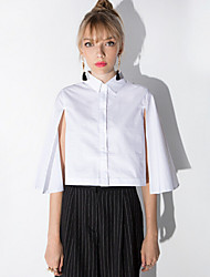 Women's Solid White Blouse , Shirt Collar ¾ Sleeve