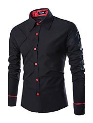 Для мужчин Офис На каждый день Большие размеры Весна Осень Рубашка Классический воротник,Простое Однотонный В клетку Длинный рукав,Хлопок