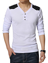 Men's Fashion Decorative Buttons V Collar Solid Slim Fit Long-Sleeve T-Shirt