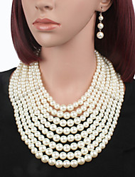 Jewelry Necklaces / Earrings Jewelry set Pearl Birthstones Wedding / Party Imitation Pearl 1set Women White Wedding Gifts