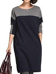Women's Casual/Daily Plus Size Plus Size Dress,Solid / Patchwork Round Neck Above Knee Long Sleeve Gray Others Fall