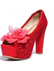 Women's Wedding Shoes Heels / Peep Toe Sandals Wedding / Party & Evening Black / Red / Beige