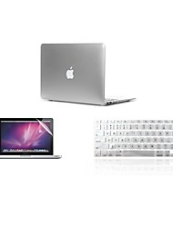 "Case for Macbook Air 11"" Macbook Pro 13""/15"" with Retina display Solid Color Plastic Material Case+ Keyboard Cover+ Screen Protector"