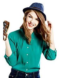 Women's Solid Blue / Pink / White / Beige / Black / Green / Yellow Shirt , Shirt Collar ¾ Sleeve
