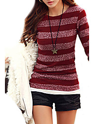 Women's Long Sleeved Striped Autumn and Winter Knit Bottom Shirt
