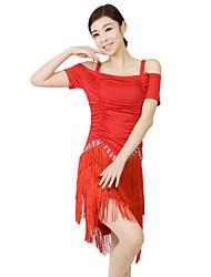 Latin Dance Dresses Women's Training Milk Fiber Crystals/Rhinestones / Pleated / Tassel(s) 2 Pieces Red Latin Dance Short SleeveShorts /